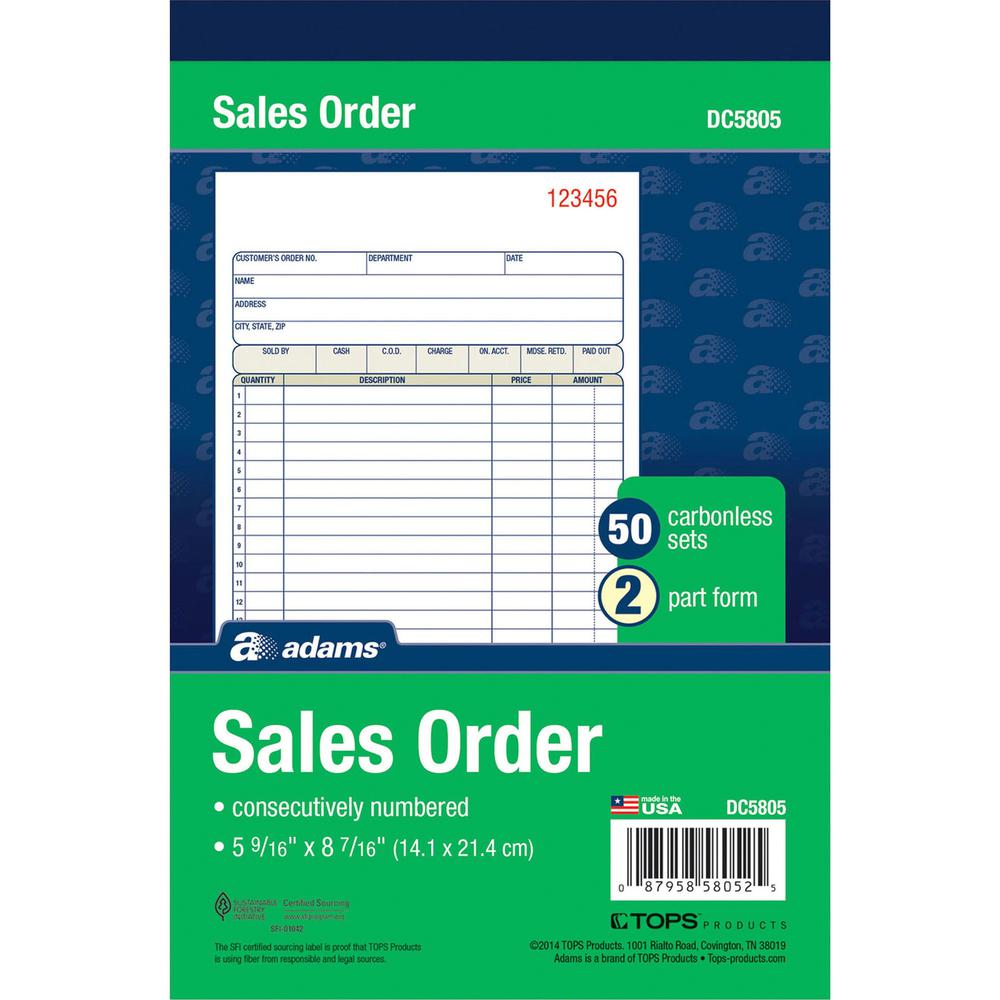 Adams Carbonless 2 Part Numbered Sales Order Books 50 Sheet S 2 Part Carbonless Copy 5