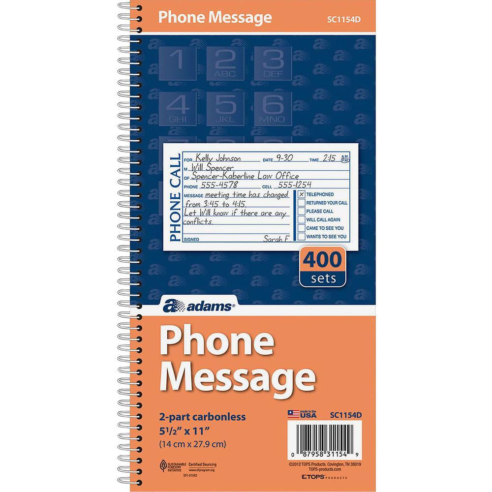 "Adams Spiral Bound Phone Message Books - 400 Sheet(s) - Spiral Bound - 2 Part - 5 1/4"" x 11"" Sheet Size - Assorted Sheet(s) - Recycled - 1 Each. Picture 4"