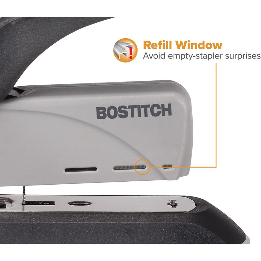 """Bostitch Spring-Powered 60 Heavy-Duty Stapler - 60 Sheets Capacity - 5/16"""" , 3/8"""" Staple Size - Black, Gray. Picture 8"""