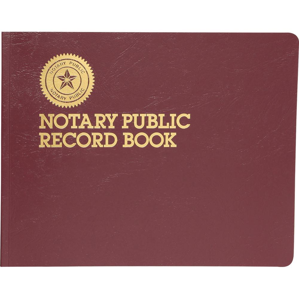 """Dome Notary Public Book - 64 Sheet(s) - Thread Sewn - 10 1/2"""" x 8 1/4"""" Sheet Size - 10 Columns per Sheet - Burgundy - White Sheet(s) - Maroon Cover - Recycled - 1 Each. Picture 4"""