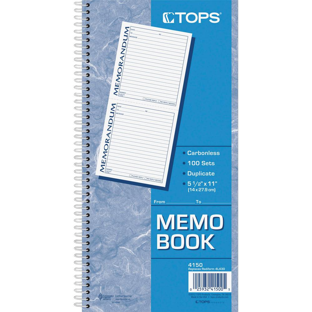 """TOPS Memorandum Forms Book - 100 Sheet(s) - Spiral Bound - 2 PartCarbonless Copy - 5.50"""" x 5"""" Form Size - 5 1/2"""" x 11"""" Sheet Size - White, Canary - Assorted Sheet(s) - Blue, Red Print Color - 1 Each. Picture 2"""