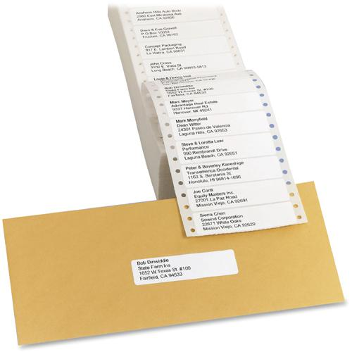 """Avery&reg Mailing Labels for Pin Fed Printers - Permanent Adhesive - 3 1/2"""" Width x 1 7/16"""" Length, 4 1/4"""" Length - Rectangle - Dot Matrix - White - 5000 / Box. Picture 3"""
