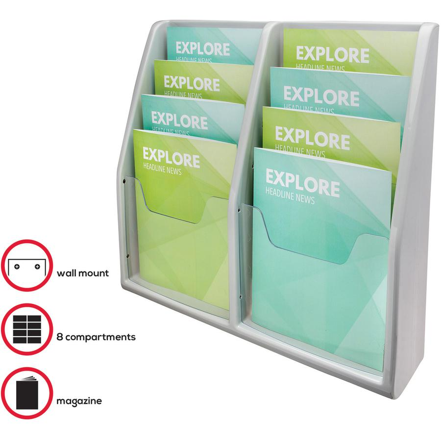 """Deflecto Multi-Compartment Literature Display - 8 Pocket(s) - 19.8"""" Height x 20.3"""" Width x 5"""" Depth - Desktop - Durable, Lightweight - Gray - Plastic - 1 Each. Picture 3"""