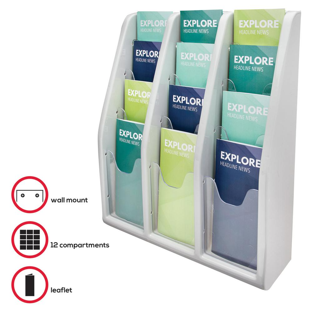 """Deflecto Multi-Compartment Literature Display - 12 Pocket(s) - 19.8"""" Height x 15.8"""" Width x 5"""" Depth - Desktop - Durable, Lightweight - Gray - Plastic - 1 Each. Picture 2"""