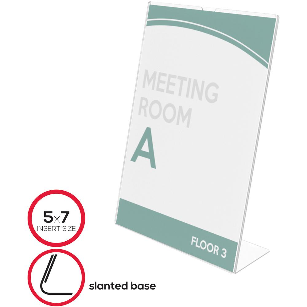 """Deflecto Superior Image Slanted Sign Holders - 1 Each - 7"""" Width x 5"""" Height - Top Loading - Plastic - Clear. Picture 10"""