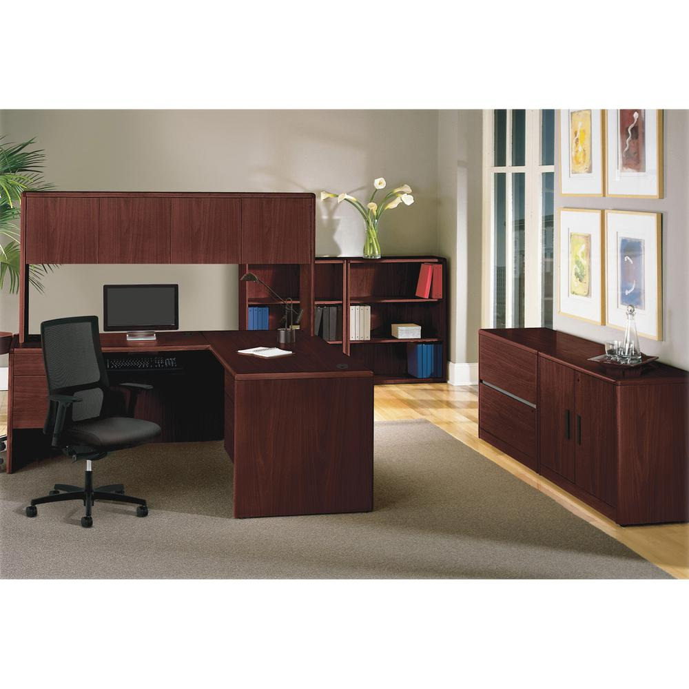 "HON 10700 Series Left-Pedestal Credenza - 72"" x 24"" x 29.5"" - 2 x File Drawer(s) - Single Pedestal on Left Side - Waterfall Edge - Material: Wood - Finish: Laminate, Mahogany. Picture 6"