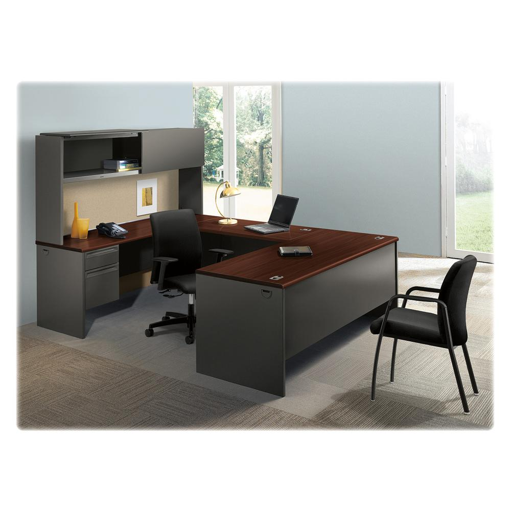 "HON Metro Classic Double Pedestal Desk - Laminated Rectangle Top - 4 Drawers - 72"" Table Top Width x 36"" Table Top Depth - 29.50"" Height - Assembly Required - Charcoal. Picture 5"