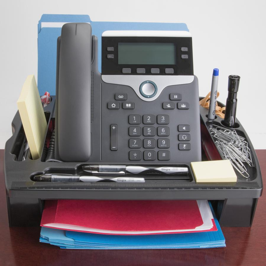 """Compucessory Telephone Stand/Organizer - 5"""" Height x 11.5"""" Width x 9.5"""" Depth - Desktop - Non-skid Base, Cable Management - Black - Plastic - 1 Each. Picture 5"""