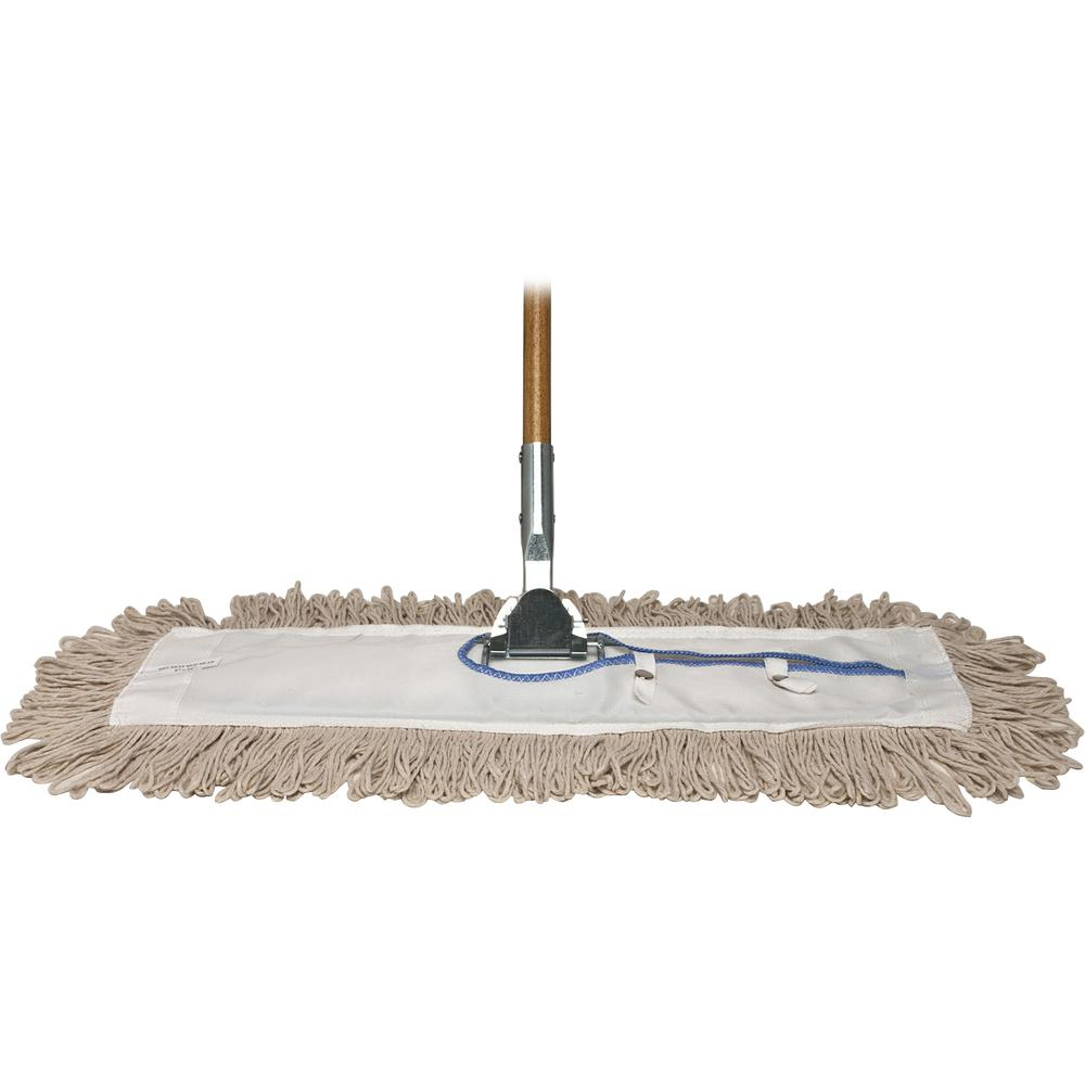 """Genuine Joe Dust Mop Complete Combo - 24"""" Cotton Head - 60"""" x 0.94"""" Wood Handle - Swivel Head, Lightweight, Chrome Plated, Absorbent, Rust Resistant, Reinforced - 1 Each. Picture 6"""