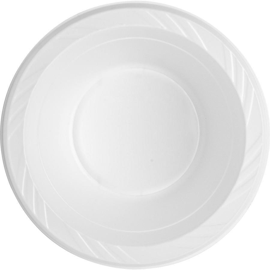 Genuine Joe Reusable Plastic Bowls - Bowl - Plastic Bowl - White - 125 Piece(s) / Pack. Picture 3