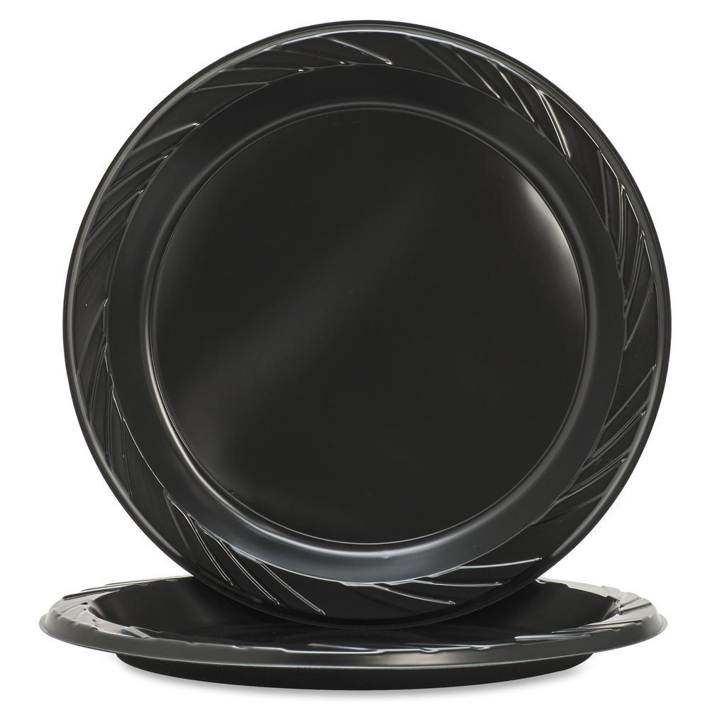 "Genuine Joe Round Plastic Black Plates - 9"" Diameter Plate - Plastic - Black - 125 Piece(s) / Pack. Picture 7"