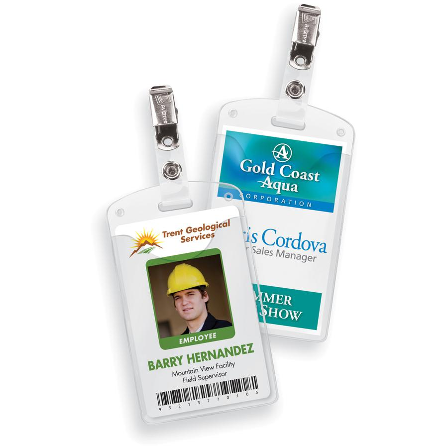 "Avery® Heavy-Duty Secure Top Clip-Style Badge Holders - Support 2.25"" x 3.50"" Media - Portrait - 2.3"" x 3.3"" - Plastic - 50 / Box - Clear. Picture 2"
