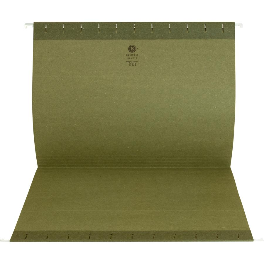 "Business Source 1/3 Cut Standard Hanging File Folders - Letter - 8 1/2"" x 11"" Sheet Size - 1/3 Tab Cut - 11 pt. Folder Thickness - Standard Green - Recycled - 25 / Box. Picture 8"