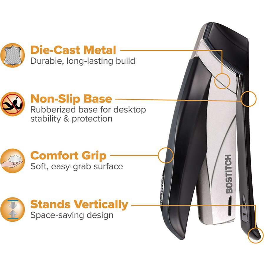 "Bostitch Spring-Powered 28 Premium Desktop Stapler - 28 Sheets Capacity - 210 Staple Capacity - Full Strip - 1/4"" Staple Size - Black, Silver. Picture 5"