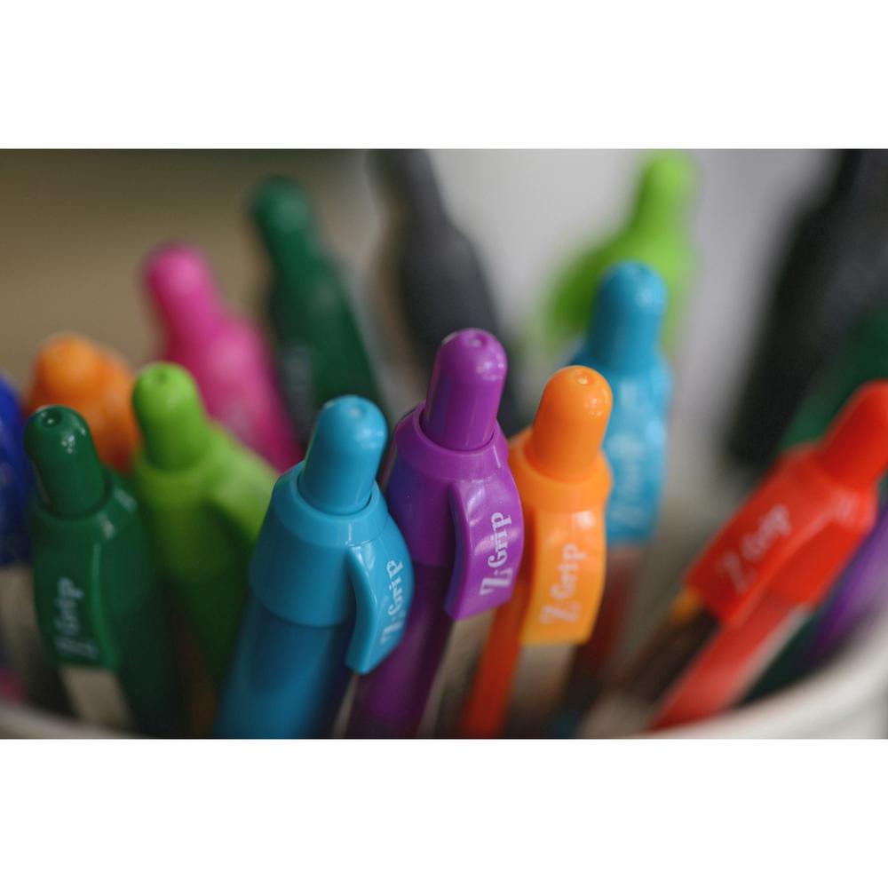 Zebra Pen Z-Grip Retractable Ballpoint Pens - Medium Pen Point - 1 mm Pen Point Size - Retractable - Assorted - Assorted Barrel - 7 / Pack. Picture 2