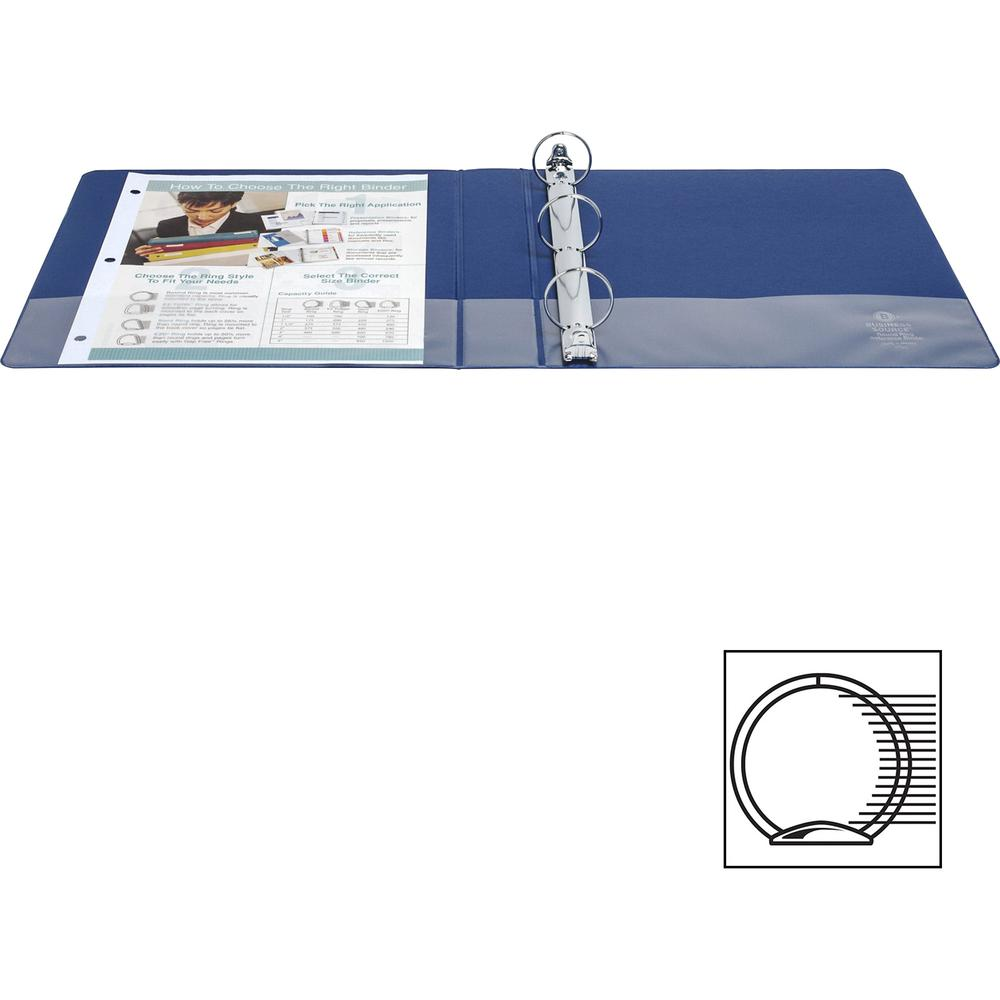 """Business Source Basic Round Ring Binders - 1 1/2"""" Binder Capacity - Letter - 8 1/2"""" x 11"""" Sheet Size - Round Ring Fastener(s) - Vinyl - Dark Blue - 1.02 lb - 1 Each. Picture 2"""