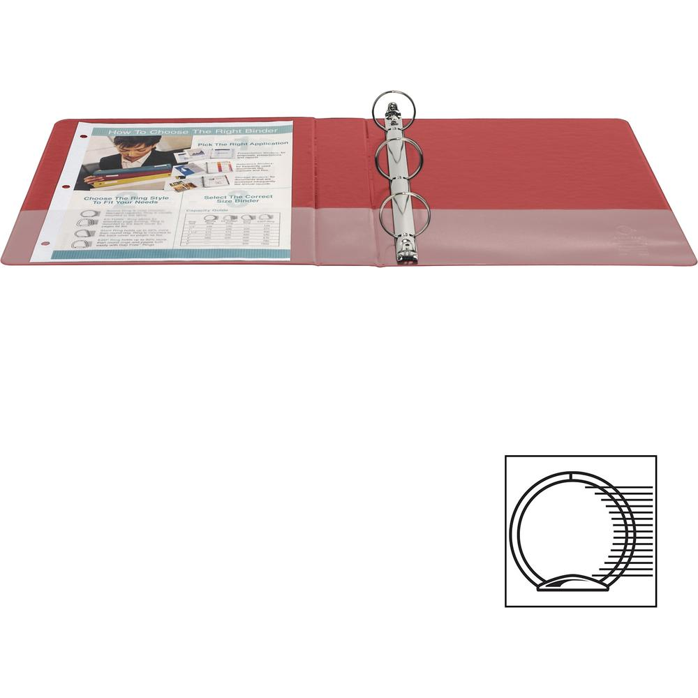 """Business Source Basic Round Ring Binders - 1 1/2"""" Binder Capacity - Letter - 8 1/2"""" x 11"""" Sheet Size - Round Ring Fastener(s) - Vinyl - Red - 1.02 lb - 1 Each. Picture 7"""
