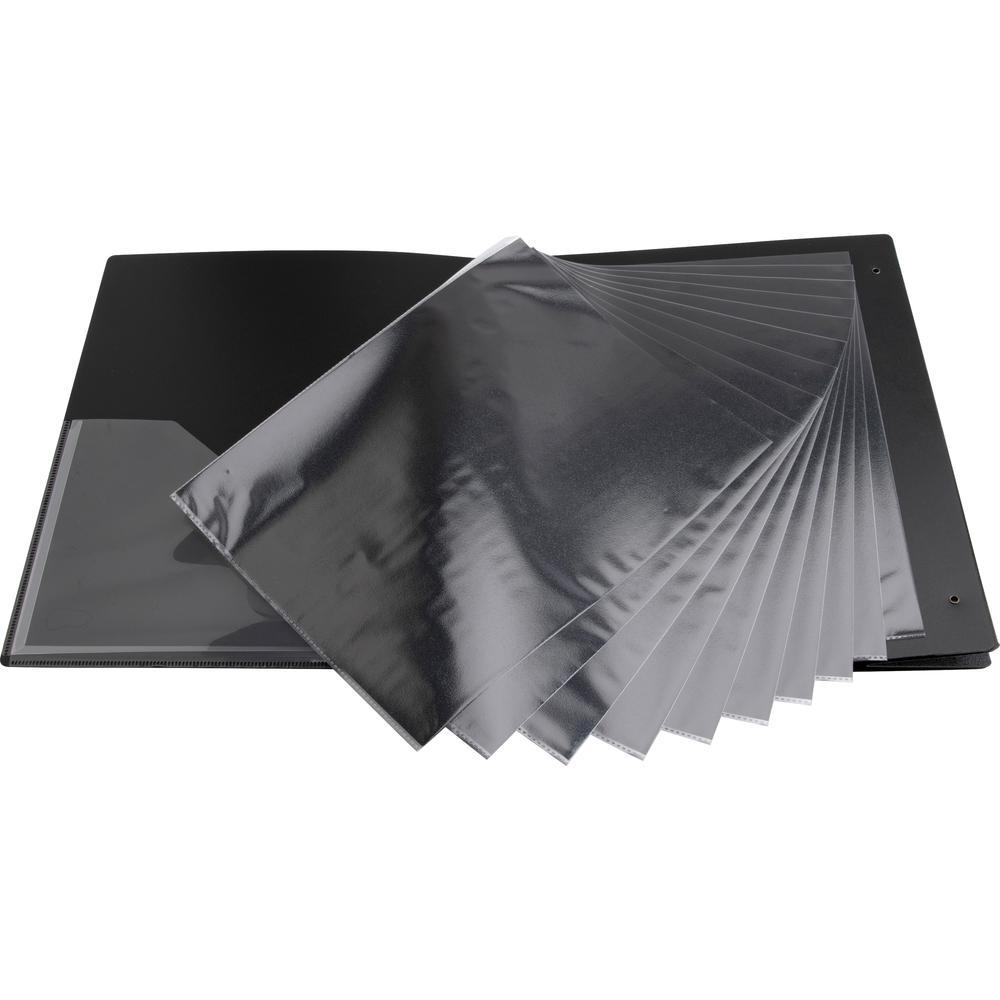 "Business Source Presentation Binder - 1"" Binder Capacity - Letter - 8 1/2"" x 11"" Sheet Size - Ring Fastener(s) - Internal Pocket(s) - Black - Recycled - Business Card Holder, Label Holder - 1 Each. Picture 11"