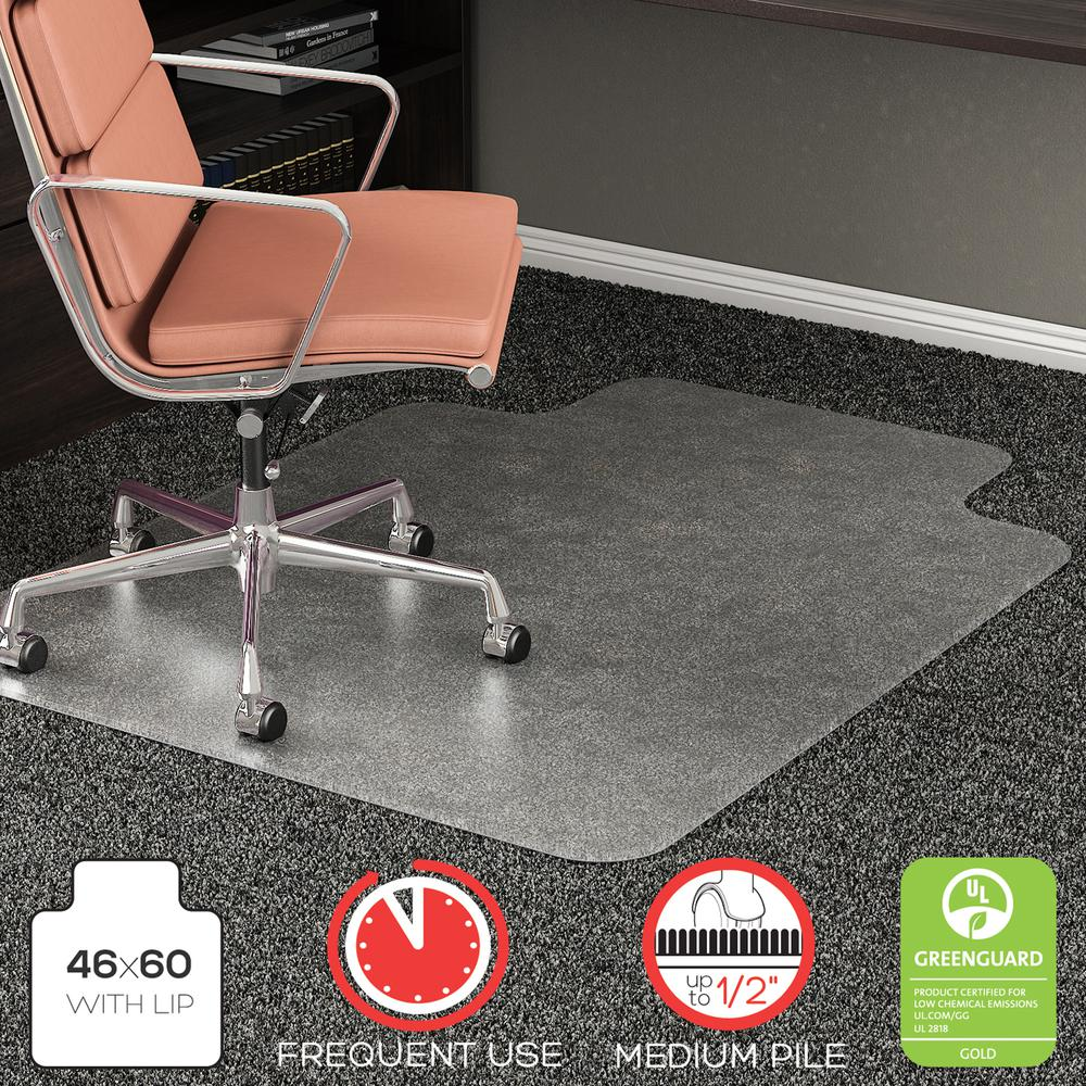 """Deflecto RollaMat for Carpet - Home, Office, Carpet - 60"""" Length x 46"""" Width - Lip Size 12"""" Length x 25"""" Width - Rectangle - Textured - Vinyl - Clear. Picture 8"""