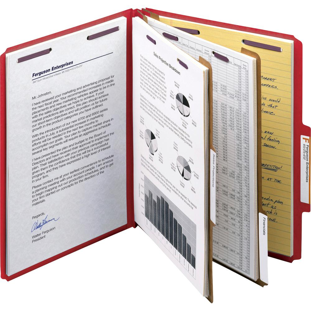 """Smead Press Guard Classification Folders with SafeSHIELD Coated Fastener Technology - Letter - 8 1/2"""" x 11"""" Sheet Size - 2"""" Expansion - 2 x 2S Fastener(s) - 2"""" Fastener Capacity for Folder, 1"""" Fastene. Picture 7"""