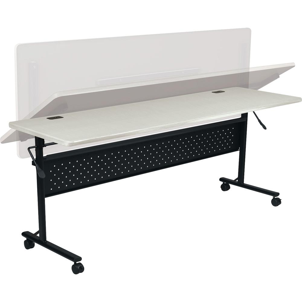 """Lorell Flipper Training Table - Silver Rectangle Top - 72"""" Table Top Length x 24"""" Table Top Width x 1"""" Table Top Thickness - 29.50"""" Height - Assembly Required. Picture 2"""