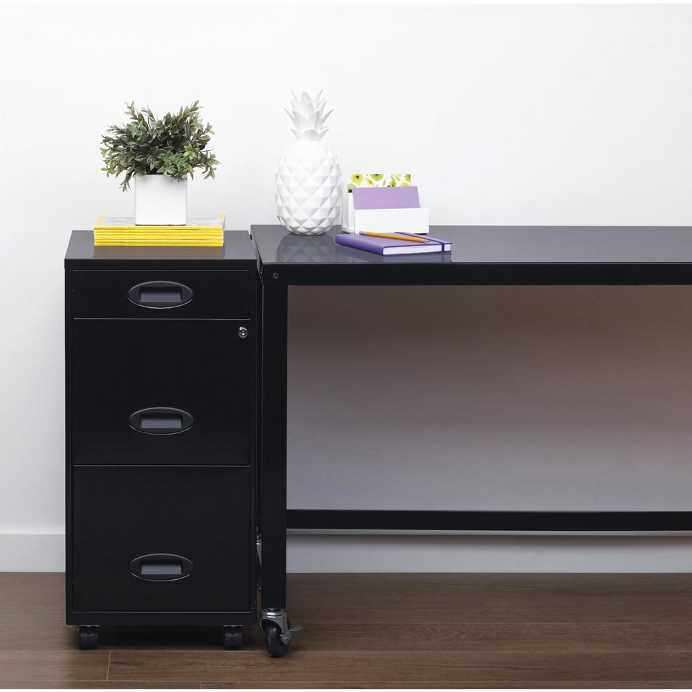 """Lorell SOHO 18"""" 3-Drawer File Cabinet - 14.3"""" x 18"""" x 27"""" - 3 x Drawer(s) for Accessories, File - Letter - Locking Drawer, Glide Suspension - Black - Baked Enamel - Plastic, Steel - Recycled - Assembl. Picture 3"""