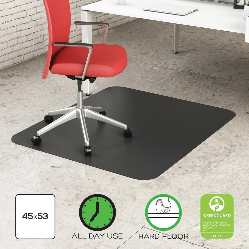 "Deflecto Black EconoMat for Hard Floors - Hard Floor, Office, Carpeted Floor, Breakroom - 60"" Length x 46"" Width - Rectangle - Vinyl - Black. Picture 9"