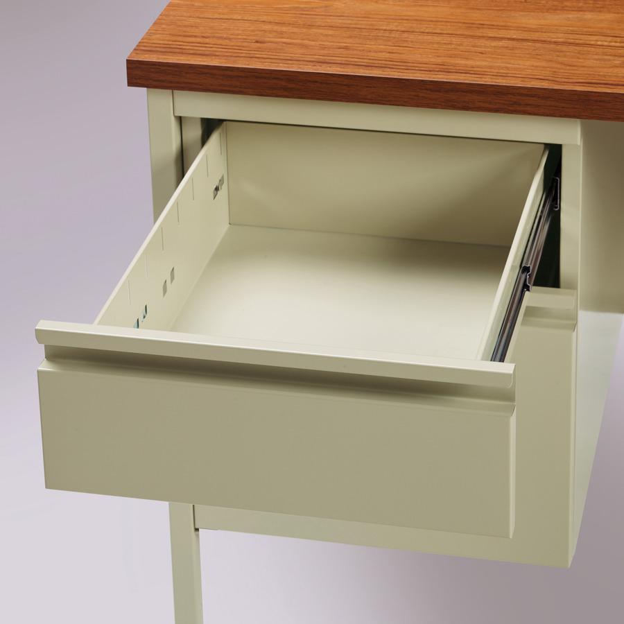Lorell Fortress Series Left Pedestal Desk Rectangle Top