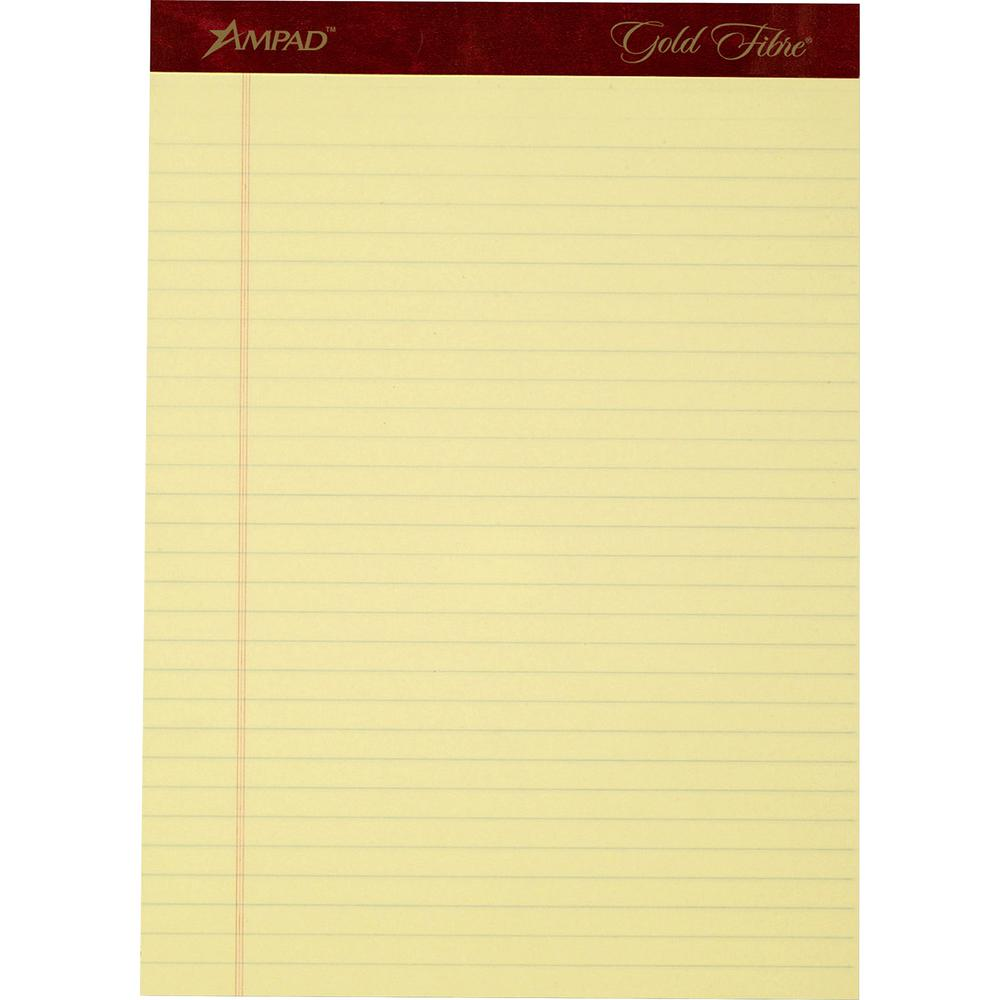 """TOPS Gold Fibre Premium Rule Writing Pads - Letter - 50 Sheets - Watermark - Stapled/Glued - 0.34"""" Ruled - 20 lb Basis Weight - 8 1/2"""" x 11"""" - Yellow Paper - Micro Perforated, Bleed-free, Chipboard Ba. Picture 2"""