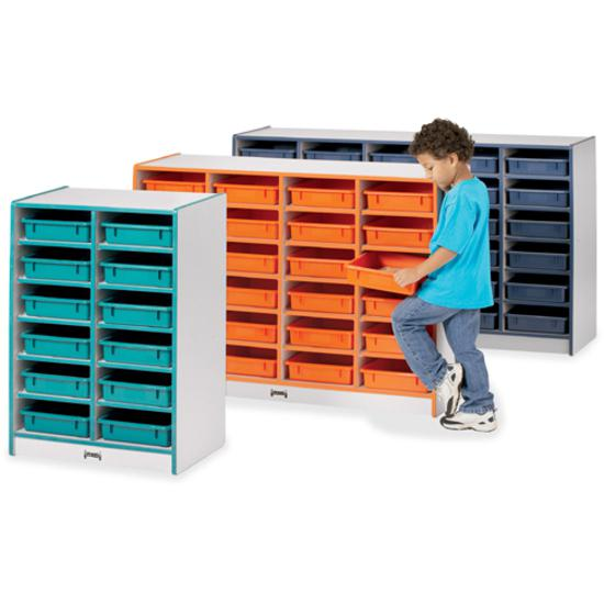 "Rainbow Accents Rainbow Mobile Paper-Tray Storage - 24 Compartment(s) - 35.5"" Height x 48"" Width x 15"" Depth - Floor - Teal - Hard Rubber - 1Each. Picture 4"