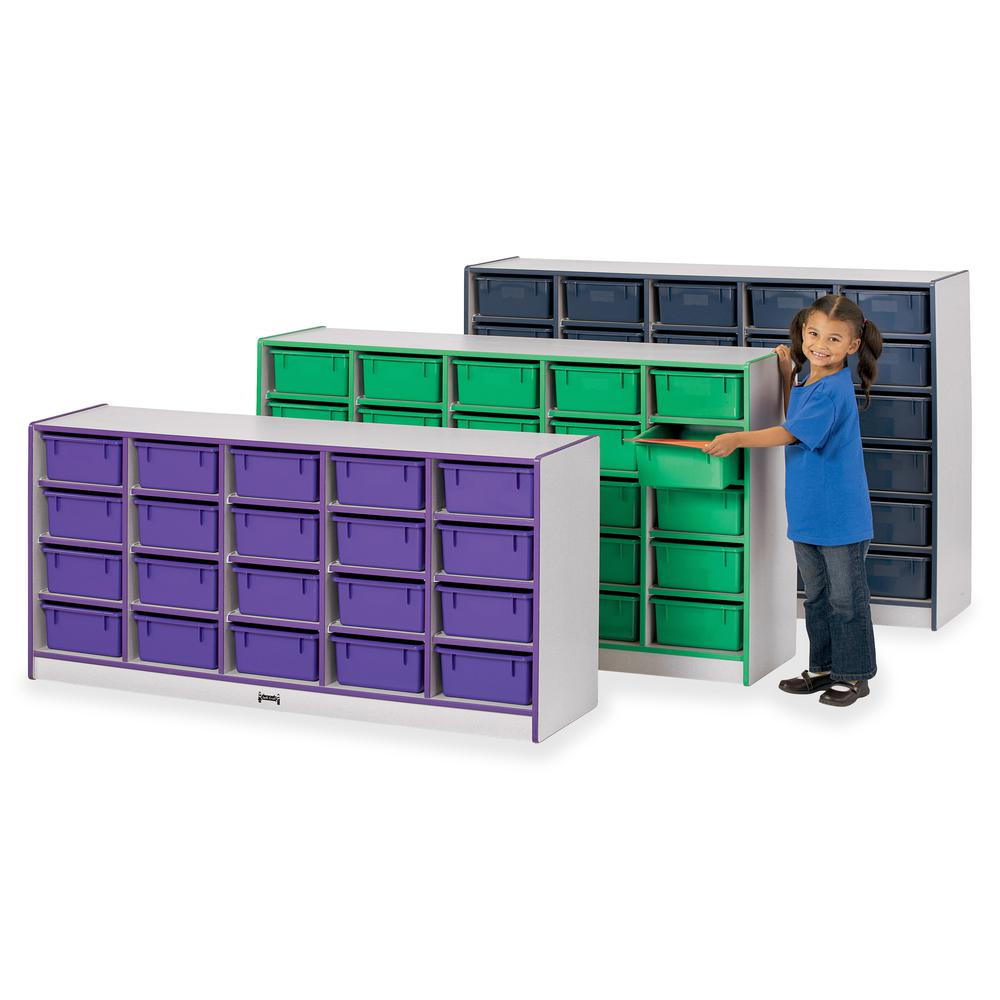 """Rainbow Accents Cubbie Mobile Storage - 20 Compartment(s) - 29.5"""" Height x 24.5"""" Width x 15"""" Depth - Floor - Navy Blue - Hard Rubber - 1Each. Picture 2"""