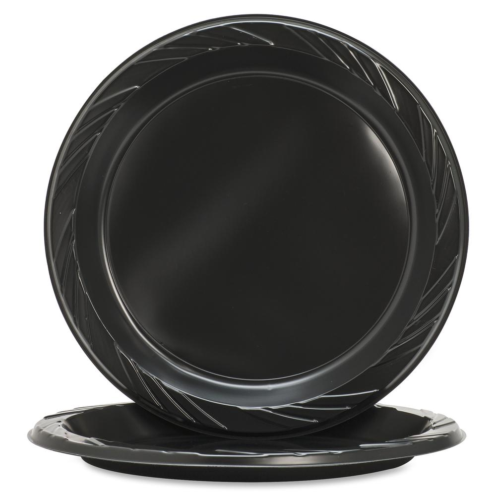 Similar Products  sc 1 st  Bison Office & Genuine Joe Round Plastic Black Plates - 125 / Pack - 9\