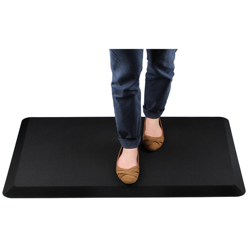 "AFS-TEX Unique System 3000 Anti-Fatigue Mat - Workstation, Stand-up Desk, Reception, Counter - 39"" Length x 20"" Width x 0.80"" Thickness - Rectangle - Polyurethane, Polyester - Midnight Black. Picture 3"