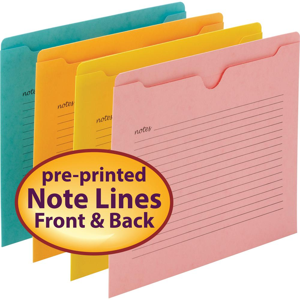 "Smead Notes File Jackets - Letter - 8 1/2"" x 11"" Sheet Size - Straight Tab Cut - Aqua, Goldenrod, Pink, Yellow - Recycled - 12 / Pack. Picture 3"