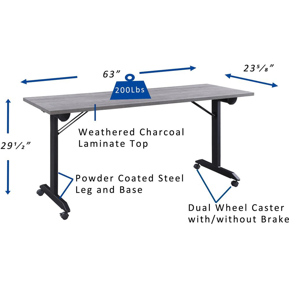 """Lorell Mobile Folding Training Table - Rectangle Top - Powder Coated Base - 23.63"""" Table Top Length x 29.50"""" Table Top Width - 63"""" Height - Assembly Required - Weathered Charcoal. Picture 9"""