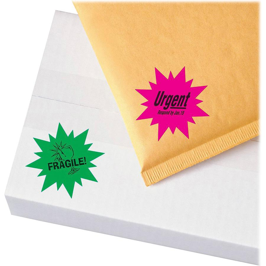 Avery® Neon Burst Labels - Permanent Adhesive - Burst - Laser - Neon Magenta, Neon Green, Neon Yellow - Paper - 24 / Sheet - 15 Total Sheets - 360 Total Label(s) - 360 / Pack. Picture 2