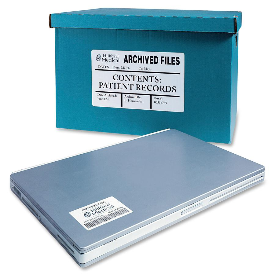 Avery® TrueBlock ID Label - Permanent Adhesive - Rectangle - Laser - White - Film - 1 / Sheet - 50 Total Sheets - 50 Total Label(s) - 5. Picture 2