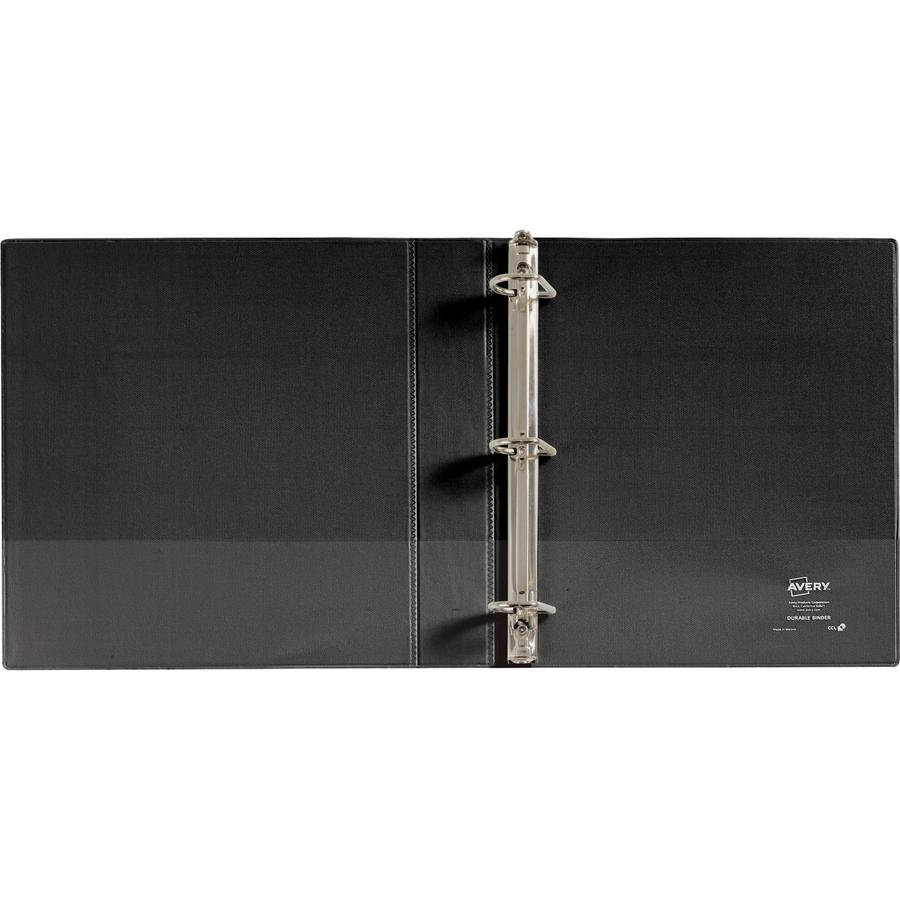 "Avery® Durable View 3 Ring Binder - 1 1/2"" Binder Capacity - Letter - 8 1/2"" x 11"" Sheet Size - 375 Sheet Capacity - 3 x Slant Ring Fastener(s) - 2 Internal Pocket(s) - Polypropylene - Black - Rec. Picture 5"