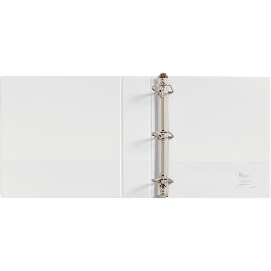 """Avery® Durable View 3 Ring Binder - 2"""" Binder Capacity - Letter - 8 1/2"""" x 11"""" Sheet Size - 530 Sheet Capacity - 3 x Slant Ring Fastener(s) - 2 Internal Pocket(s) - Polypropylene - White - Recycle. Picture 3"""