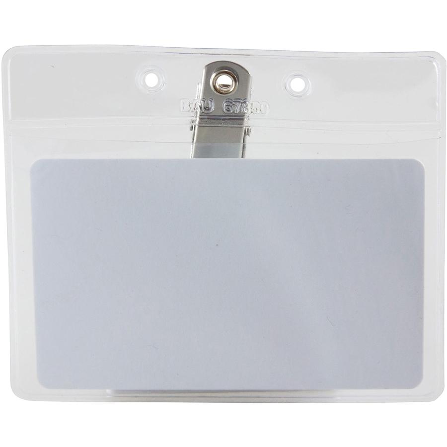 """SICURIX Horizontal Badge Holder with Clip - 2.5"""" x 3.5"""" x - Vinyl - 50 / Pack - Clear. Picture 7"""