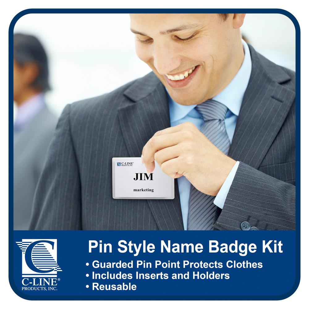 C-Line Pin Style Name Badge Holder Kit - Folded Holders with Inserts, 3-1/2 x 2-1/4, 100/BX, 94223. Picture 3