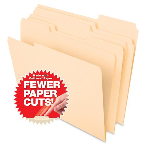 """Pendaflex Cutless File Folders - Letter - 8 1/2"""" x 11"""" Sheet Size - 1/3 Tab Cut - Top Tab Location - Assorted Position Tab Position - 11 pt. Folder Thickness - Paper Stock - Manila - Recycled - 100 / . Picture 3"""