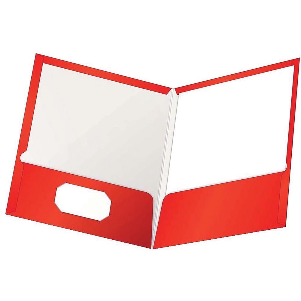"Oxford Letter Pocket Folder - 8 1/2"" x 11"" - 100 Sheet Capacity - 2 Pocket(s) - Red - 25 / Box. Picture 2"