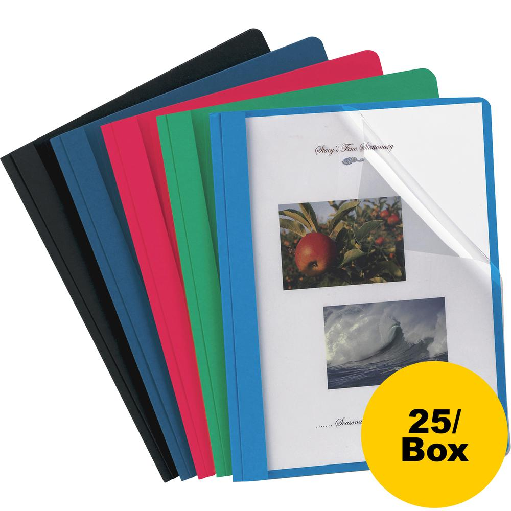 """Oxford Letter Report Cover - 8 1/2"""" x 11"""" - 3 x Tang Fastener(s) - 1/2"""" Fastener Capacity for Folder - Assorted - 25 / Box. Picture 3"""