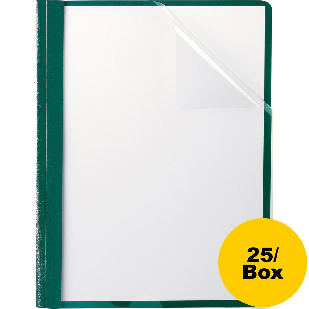"""Oxford Letter Recycled Report Cover - 8 1/2"""" x 11"""" - 100 Sheet Capacity - 3 x Tang Fastener(s) - 1/2"""" Fastener Capacity for Folder - Leatherette - Hunter Green - 10% - 25 / Box. Picture 4"""