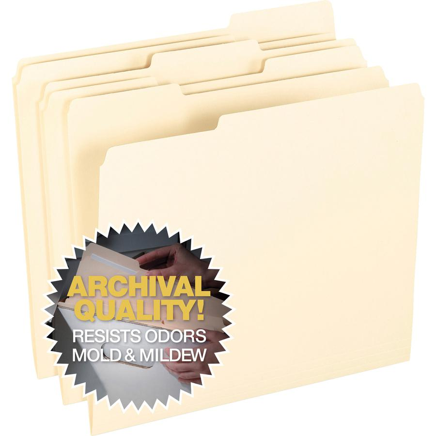"Pendaflex 1/3 Tab Cut Letter Recycled Top Tab File Folder - 8 1/2"" x 11"" - Top Tab Location - Assorted Position Tab Position - Manila - Manila - 10% - 100 / Box. Picture 3"