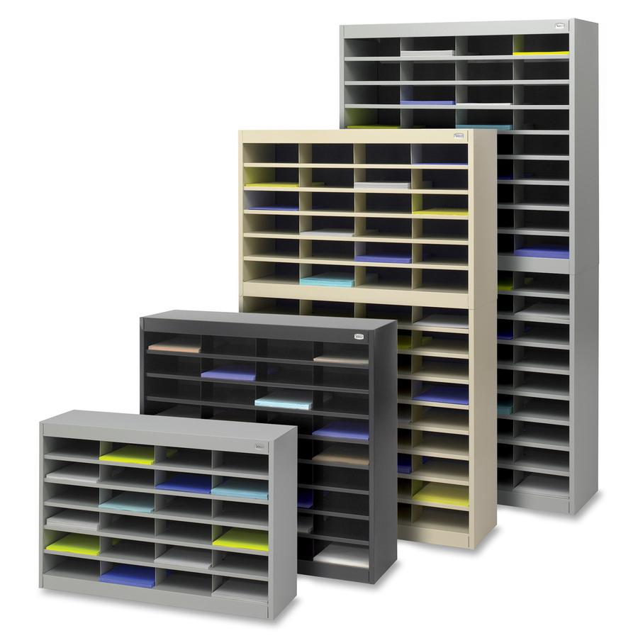 """Safco E-Z Stor Steel Literature Organizers - 750 x Sheet - 60 Compartment(s) - Compartment Size 3"""" x 9"""" x 12.25"""" - 60"""" Height x 37.5"""" Width x 12.8"""" Depth - 50% - Gray - Steel, Fiberboard - 1 Each. Picture 2"""