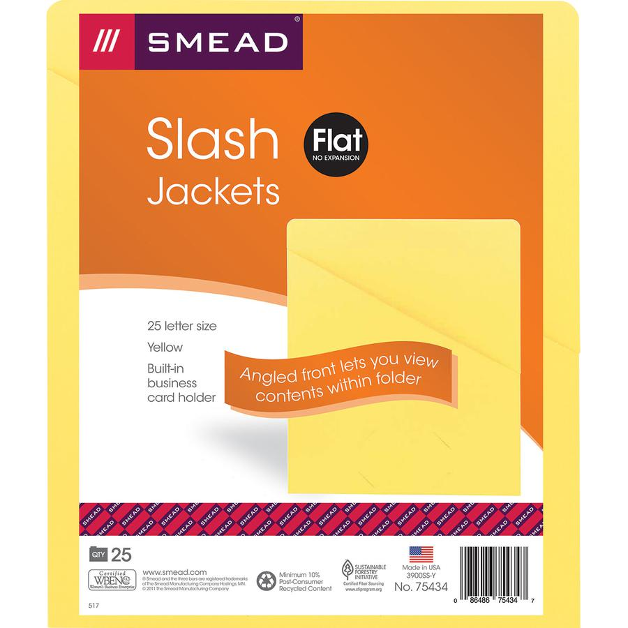 """Smead Organized Up Slash-Style File Jackets - Letter - 8 1/2"""" x 11"""" Sheet Size - 11 pt. Folder Thickness - Yellow - 1.49 lb - Recycled - 25 / Pack. Picture 5"""