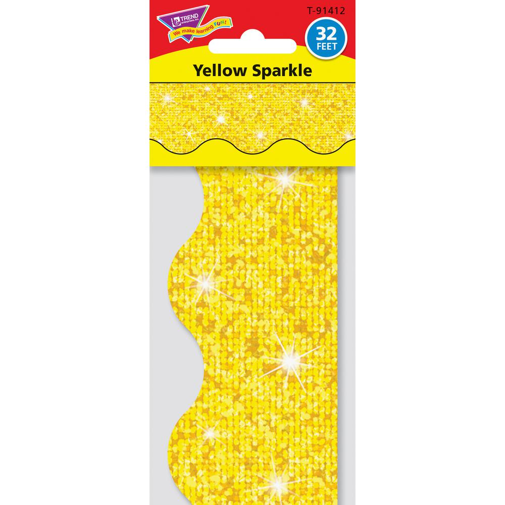 """Trend Sparkle Board Trimmers - (Rectangle Topped With Waves) Shape - Pin-up - Reusable, Precut - 0.10"""" Height x 2.25"""" Width x 390"""" Length - Yellow - Paper - 1 Pack. Picture 3"""