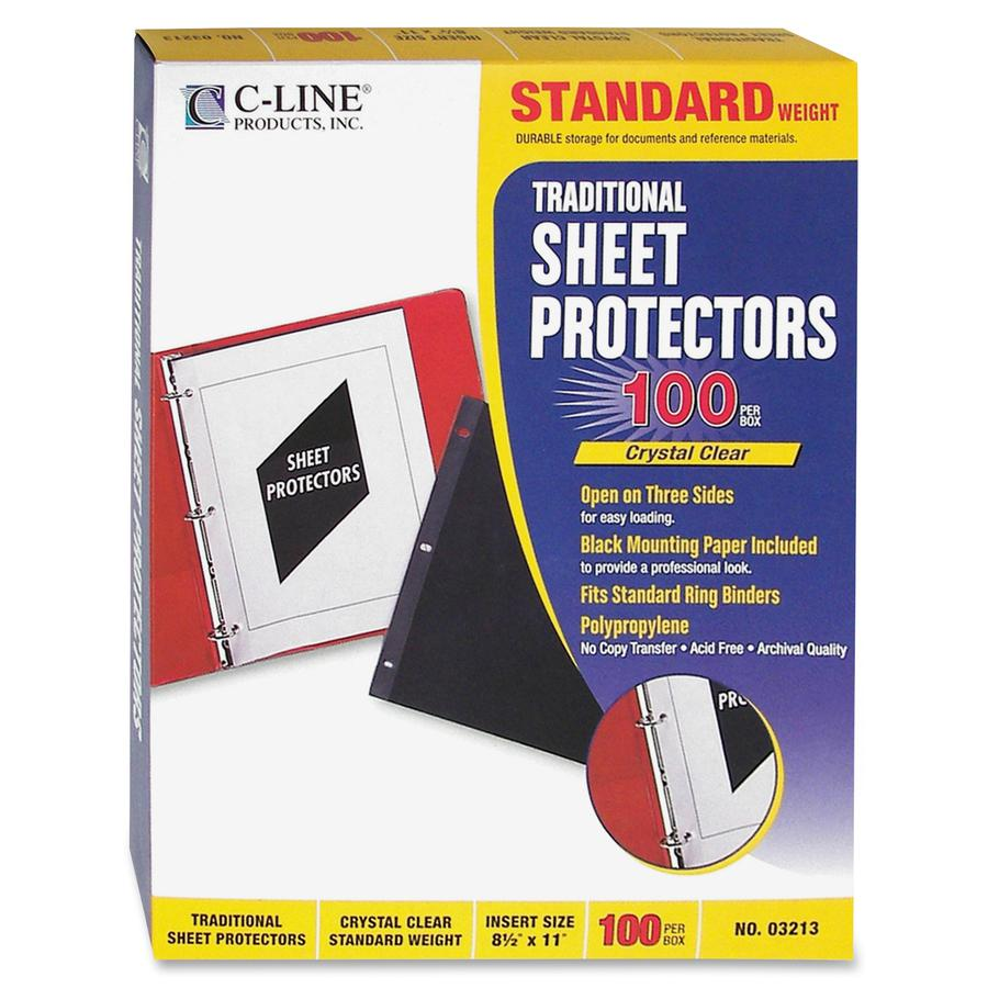 """C-Line Traditional Standard Weight Polypropylene Sheet Protector - Letter 8.50"""" x 11"""" - Polypropylene - 100 / Box - Clear"""". Picture 4"""